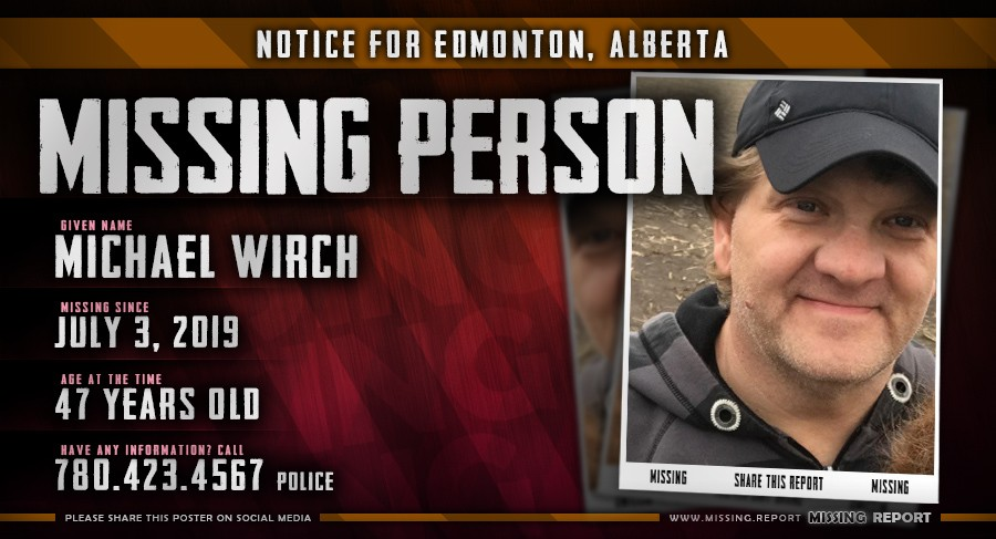 Michael Wirch Missing Person Edmonton Alberta Canada Poster